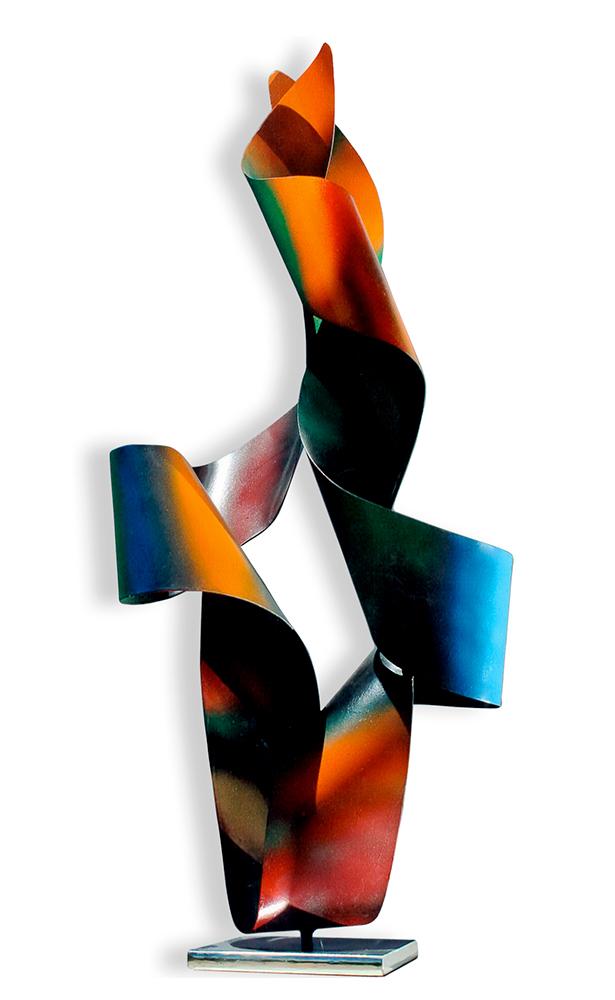 Corpo Vuoto Luminoso Scultura in Acciaio Colorato di Franco Paletta