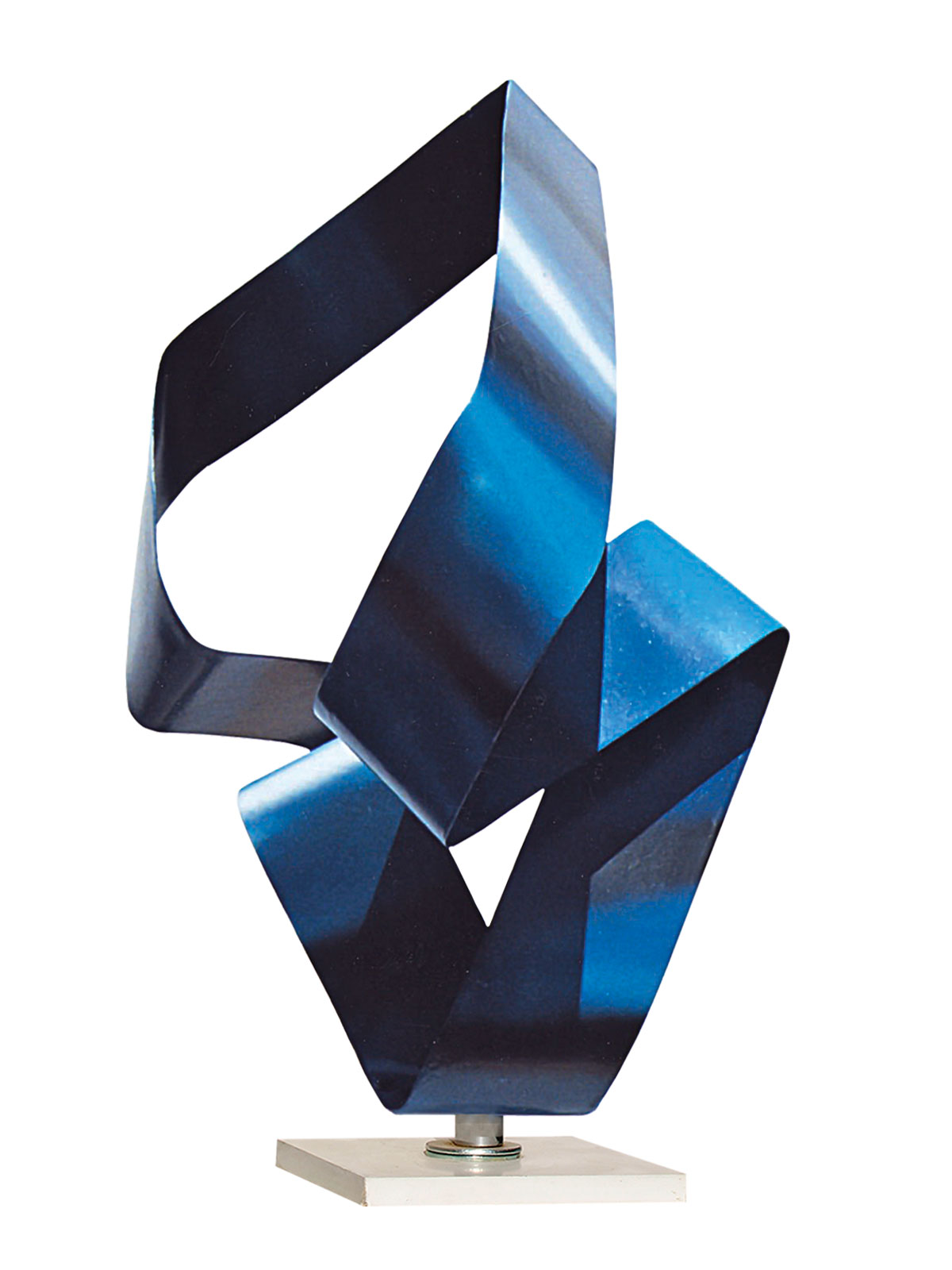Scultura Corpo Vuoto Luminoso Blu Acciaio del Maetro Franco Paletta